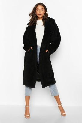boohoo Tall Faux Fur Teddy Coat