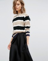 J.o.a. Striped Cable Knit Sweater