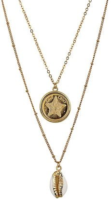 American Coin Treasures Gold Plated Starfish Coin Gold Trimmed Cowrie Shell Double Chain Necklace