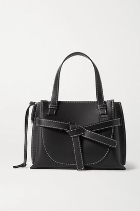 Loewe Gate Mini Topstiched Leather Tote - Black