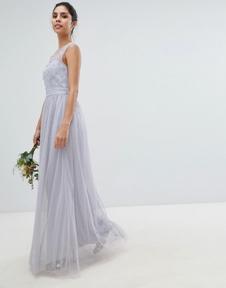 Little Mistress Tulle Maxi Dress With Embellished Pearl Detail