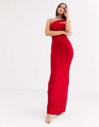 Club L London one strap shoulder maxi dress in red