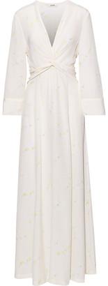 Ganni Twist-front Floral-print Washed-silk Maxi Dress