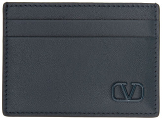 Valentino Navy Garavani Small VLogo Card Holder