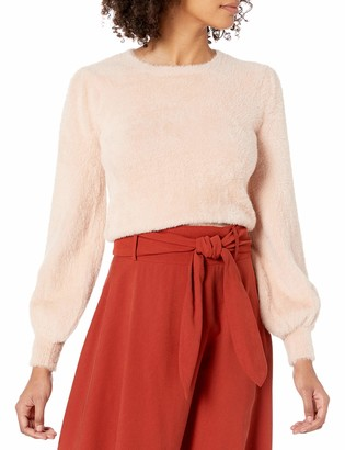 ASTR the Label Women's Sorbet Solid Long Sleeve Fuzzy Sweater