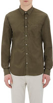 Officine Generale Men's Poplin Button-Front Shirt-GREEN