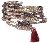 Saachi Sanibel Bead & Tassel Detail Coil Wrap Bracelet