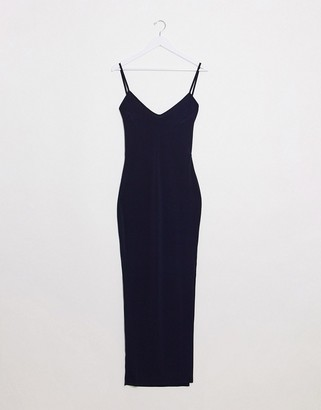Flounce London cami midi dress with open back in navy