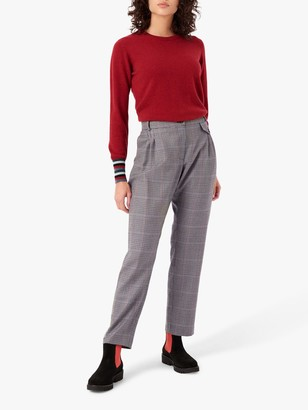 Brora Houndstooth Wool Check Trousers, Verdigris/Ash