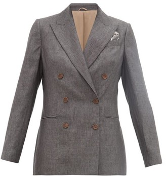 Brunello Cucinelli Doubled-breasted Linen Suit Jacket - Womens - Dark Grey