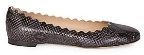 Chloé Women's Lauren Python-Embossed Leather Ballet Flats