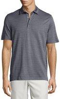 Ermenegildo Zegna Horizontal-Herringbone Short-Sleeve Polo Shirt, Blue