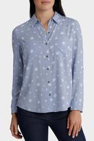 Chambray Printed Roll Up Sleeve Shirt