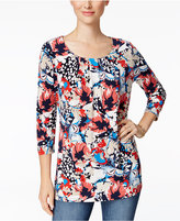 Charter Club Floral-Print Crew-Neck Top, Only at Macy's