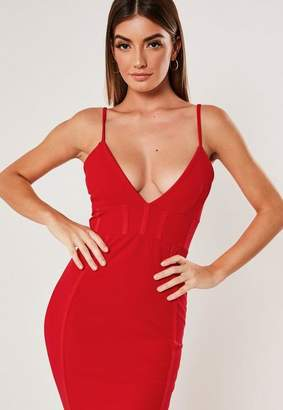 Missguided Red Corset Detail Bodycon Midi Dress