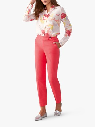 Pure Collection Ankle Trousers, Coral Pink