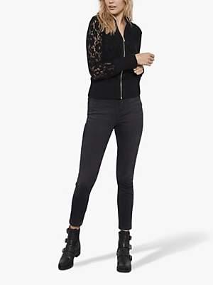 Mint Velvet Lace Zip Bomber Jacket, Black