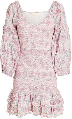LoveShackFancy Ensley Floral Smocked Mini Dress