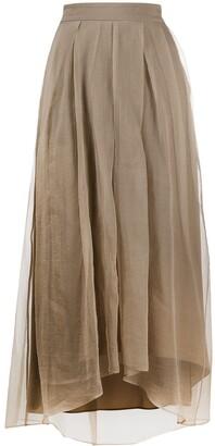 Brunello Cucinelli High-Waisted Asymmetric-Hem Silk Skirt