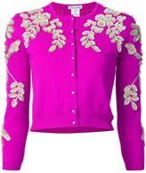 Oscar de la Renta floral threadwork cardigan