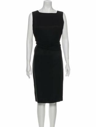 Oscar de la Renta Silk Midi Length Dress Black