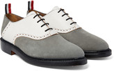 Thom Browne - Two-tone Nubuck And Textured-leather Oxford Shoes