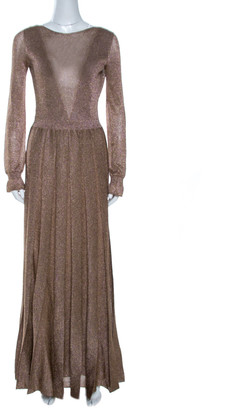 Missoni Gold Lurex Knit Plunge Back Pleated Gown S
