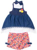 Little Lass Blue Denim Halter Top & Floral Shorts - Infant Toddler & Girls