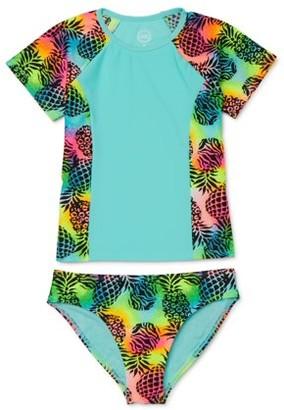 Wonder Nation Pineapple Pop Short Sleeve Swim Shirt Rashguard, 2-Piece Swimsuit Set (Little Girls & Big Girls)