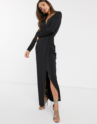 French Connection slinky wrap maxi dress-Black