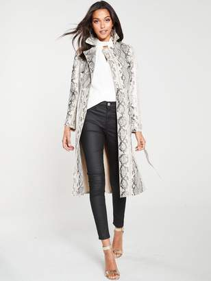 River Island Snake Print Patent Trench Coat - Neutral