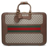 Gucci Large Echo Gg Supreme Canvas & Leather Suitcase - Beige