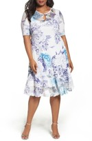 Komarov Plus Size Women's Print Keyhole Chiffon A-Line Dress