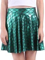 HDE Womens Shiny Mermaid Fish Scale Mini Flared Pleated Skater Skirt