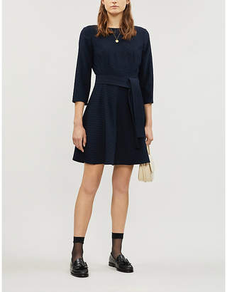 Claudie Pierlot Roselie belted crepe mini dress