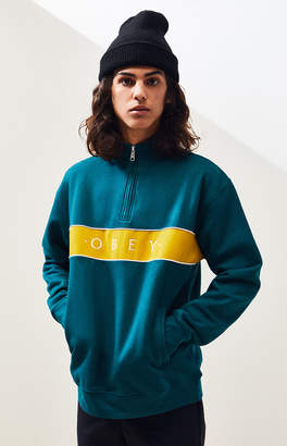 Obey Deal Mock Neck Quarter Zip Pullover
