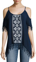 Almost Famous Short Sleeve Rayon Blouse-Juniors