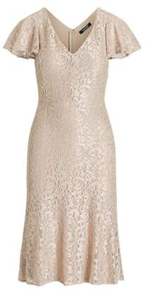 Ralph Lauren Lace Flutter-Sleeve Dress