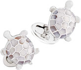 Jan Leslie Inlaid Mother-of-Pearl Turtle Cuff Links, Silver/White