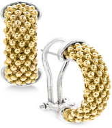 Macy's Two-Tone Dew Drop Hoop Earrings in Sterling Silver & 14k Gold-Plated Sterling Silver