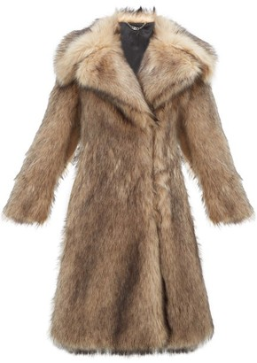 Paco Rabanne Oversized Faux-fur Coat - Womens - Brown