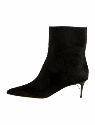 Maison Margiela Ponyhair & Suede Pointed-Toe Boots w/ Tags Black