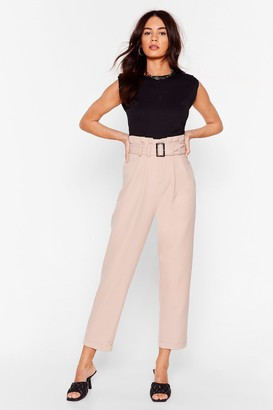 Nasty Gal Womens Never Belt Love Like This Tapered Pants - Stone