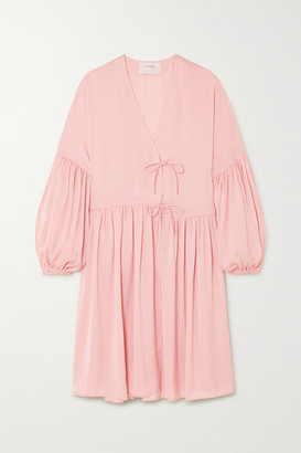 MUNTHE Esra Tie-front Gathered Crepe Mini Dress - Pastel pink