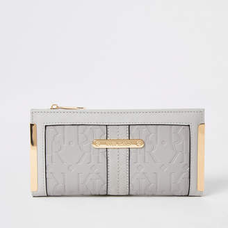 River Island Grey RI embossed fold out purse
