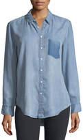 DL1961 Premium Denim Nassau Manhattan Button-Front Mid-Wash Chambray Shirt