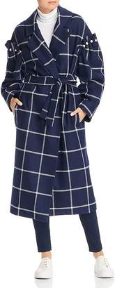 Mother of Pearl No Frills by Windowpane Plaid Belted Wool Coat