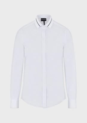 Emporio Armani Shirt With Jacquard Logo Collar