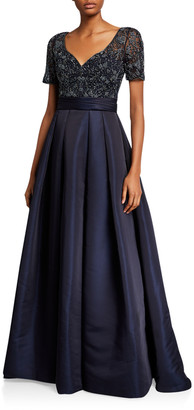 Couture Theia Beaded Bodice V-Neck Short-Sleeve Gown w/ Duchess Satin Skirt