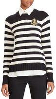 Lauren Ralph Lauren Striped Layered Crest Sweater